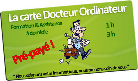 Carte d'assistance informatique Docteur Ordinateur